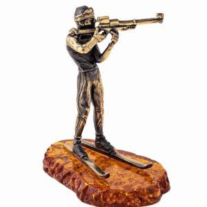 Фигурка статуэтка лыжника биатлониста. Подарки сувениры для лыжников