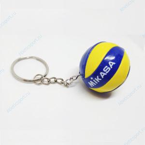 брелок волейбольный мяч на подарок волейболисту mikasa желтый синий